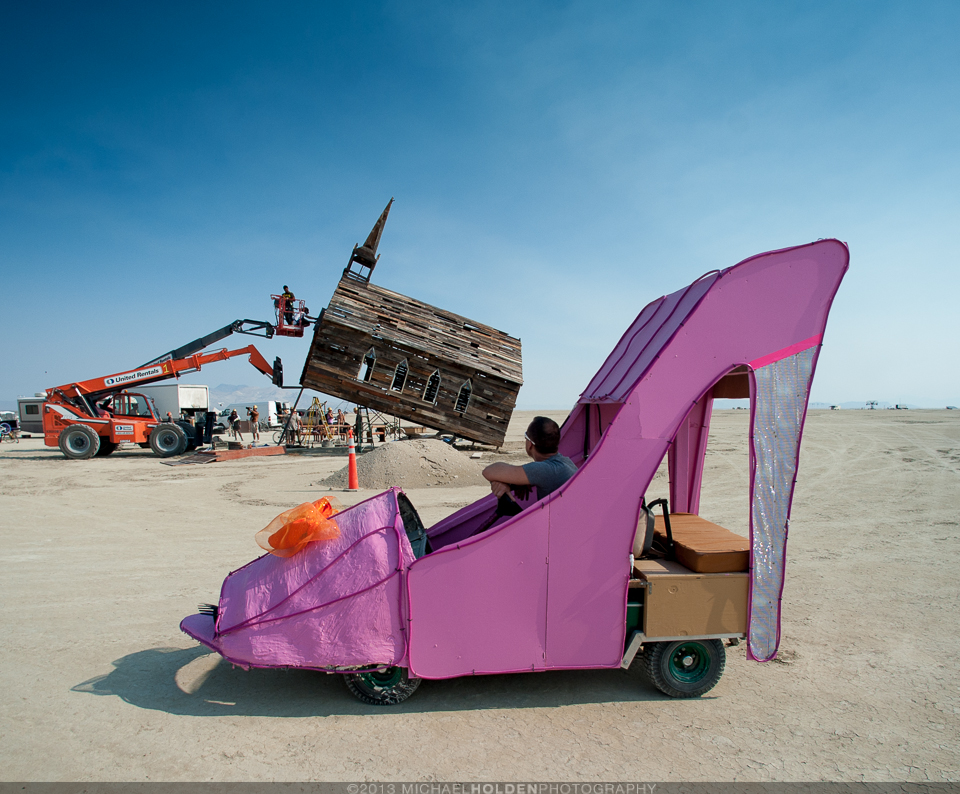 Burning Man Art Preview: Church raising and glam heels art car