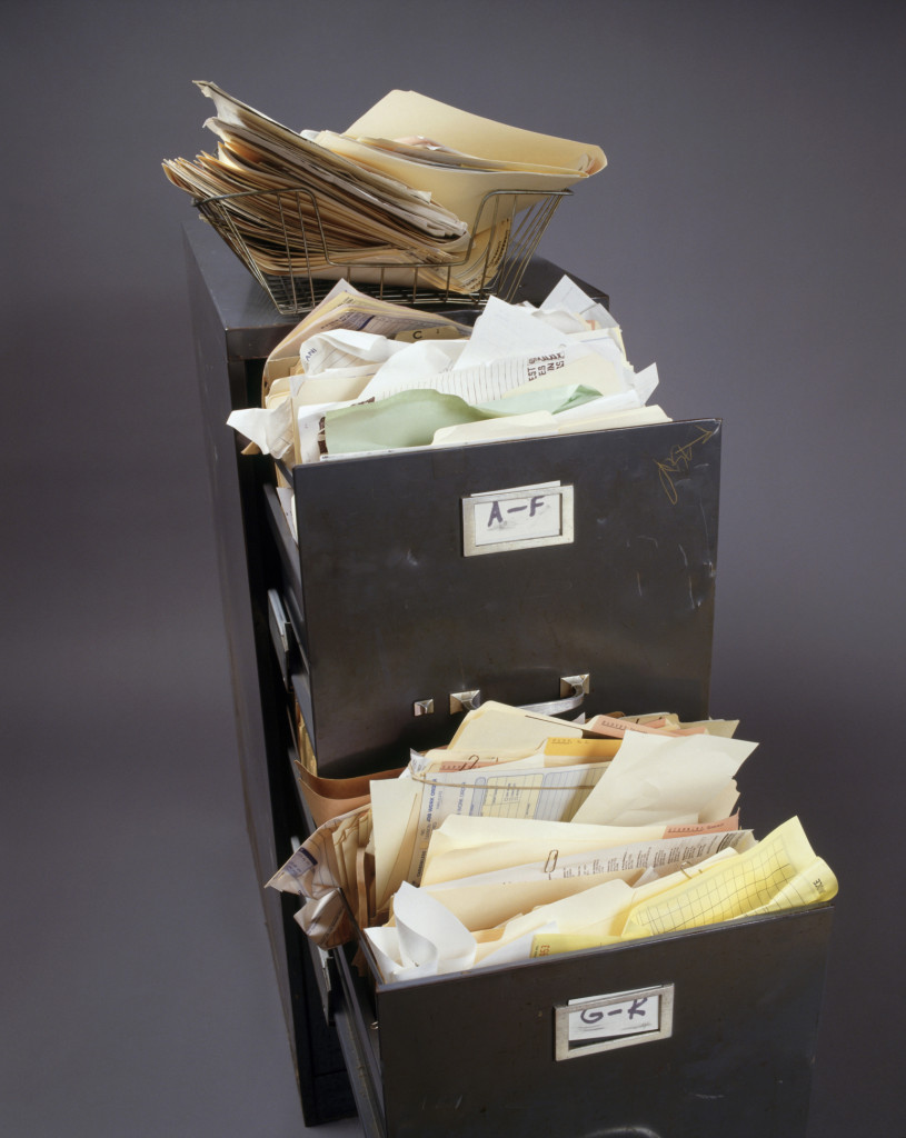 Overfilled file cabinet