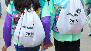 SAN FRANCISCO, CA - MAY 02:  Girl Scouts attend the Girl Scouts of the USA and National Park Service Host a Girl Scout Bridging Ceremony at the Golden Gate Bridge on May 2, 2015 in San Francisco, California.  (Photo by Steve Jennings/Getty Images for Girl Scouts of the USA)