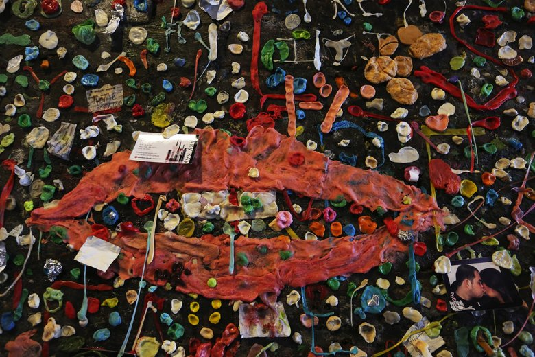 Evoking lips by Man Ray, many pieces of gum went into this attachment to Post Alley's Gum Wall. to be cleaned in a week. Tuesday Nov 3, 2015