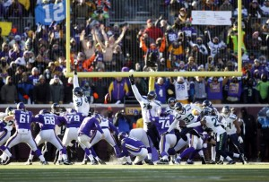 Jan 10, 2016; Minneapolis, MN, USA; Minnesota Vikings kicker Blair Walsh (3) misses the potential game-winning field goal against the Seattle Seahawks in the fourth quarter in a NFC Wild Card playoff football game at TCF Bank Stadium. Mandatory Credit: Bruce Kluckhohn-USA TODAY Sports ORG XMIT: USATSI-245810 ORIG FILE ID: 20160110_jla_sk1_115.jpg