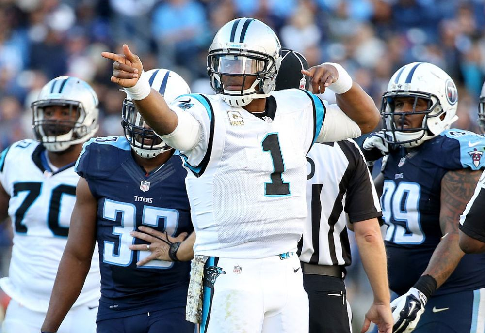 NASHVILLE, TN - NOVEMBER 15: Cam Newton #1 of the Carolina Panthers celebrates during the second half against the Tennessee Titans at LP Field on November 15, 2015 in Nashville, Tennessee. (Photo by Andy Lyons/Getty Images)